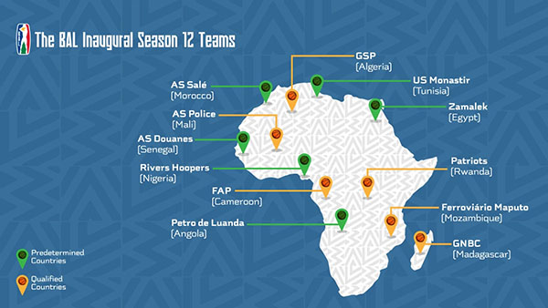 bal basketball africa league squadre